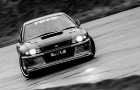 Front view of the Impreza22B with wheels pointing to one side